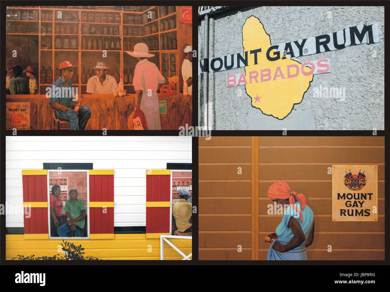 Collage von 4 Fotos aus der Berühmten Destillerie Mount Gay Rum Barbados Stockbild