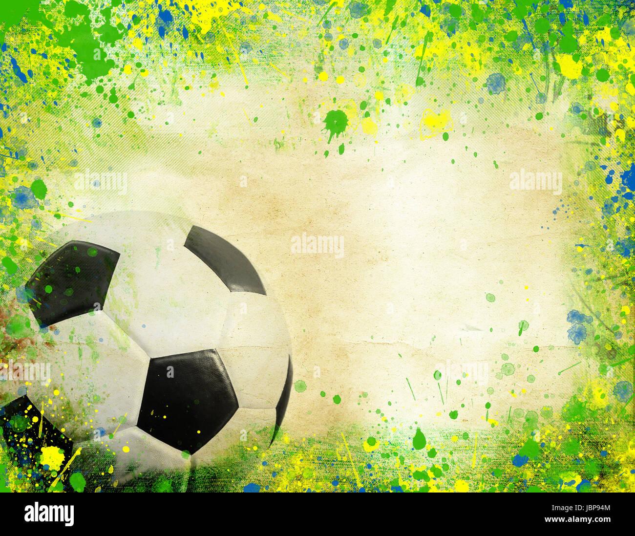 Foto von Fußball und die Farben der Flagge Brasilien Stockfoto, Bild ...