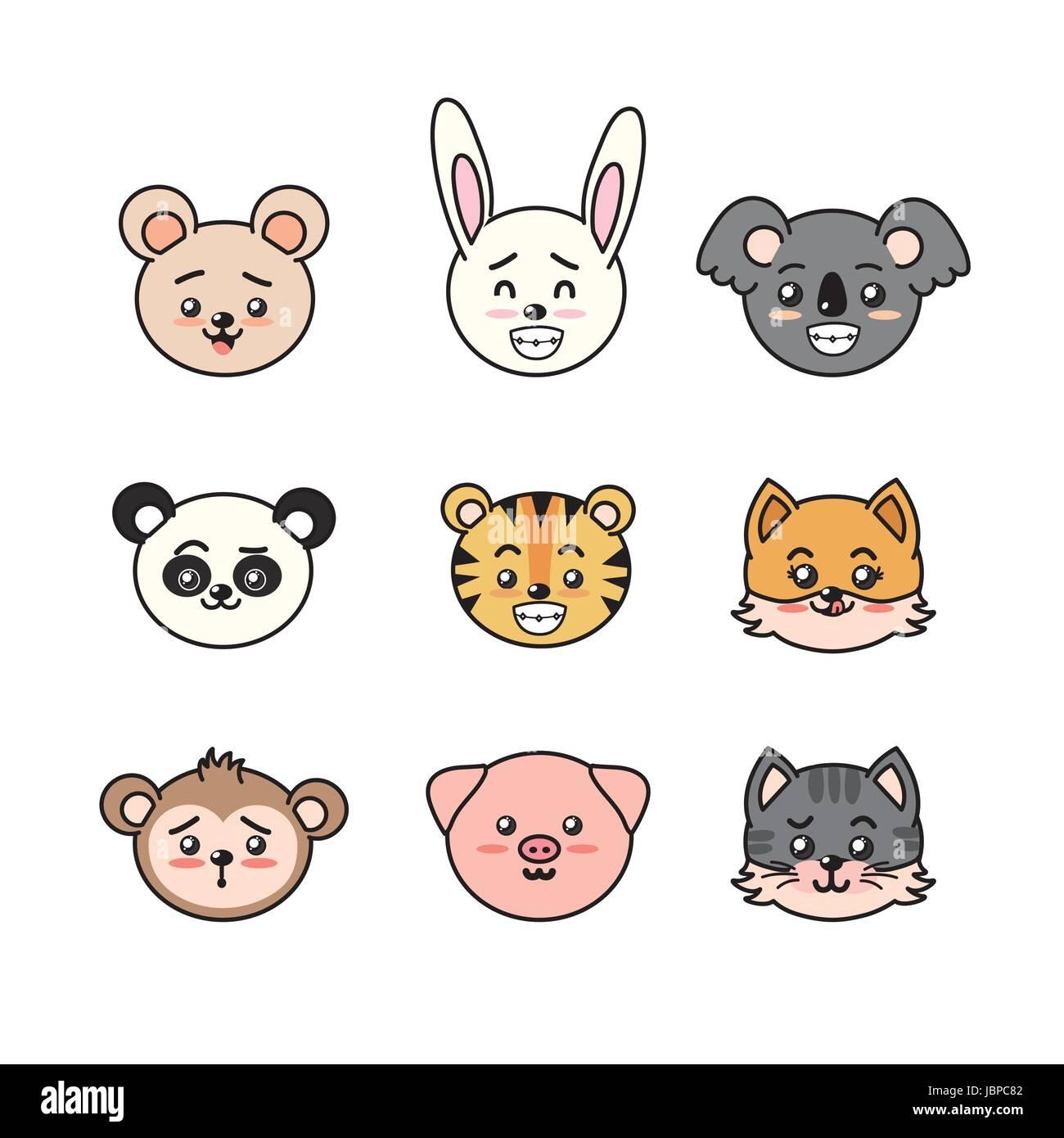 Süß Und Zart Tiere Mit Ausdrücken Festlegen Vektor Abbildung