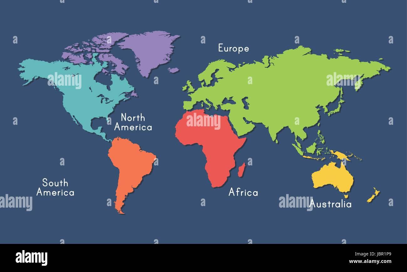 Karte Kontinente Welt.Welt Karte Kontinente Lage Grafische Darstellung Vektor