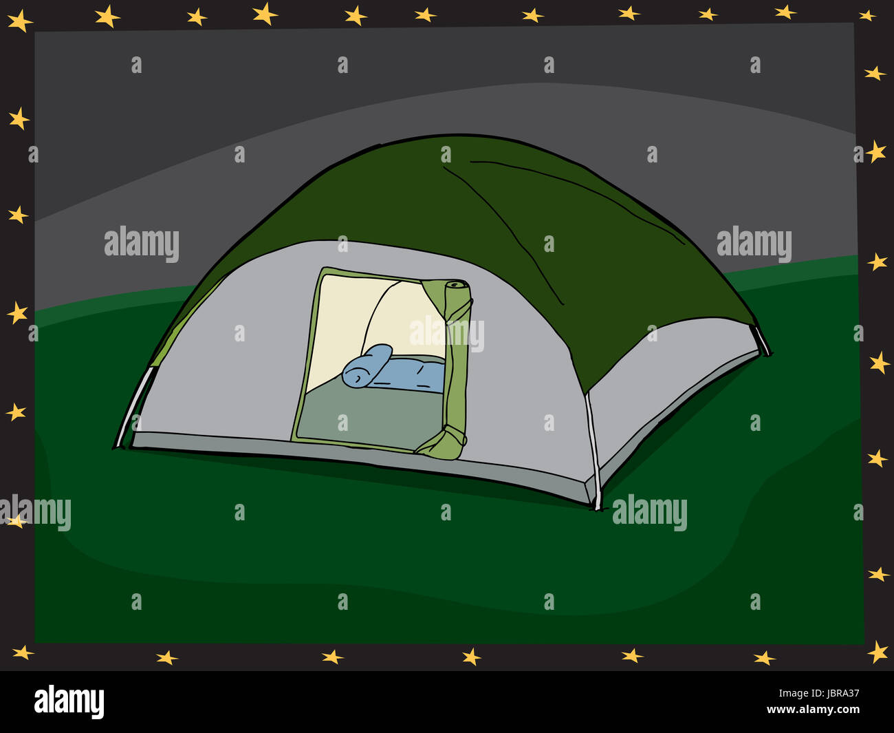Hand-gezeichnete Cartoon-Zelt mit offener Tür und Rahmen Stockfoto ...