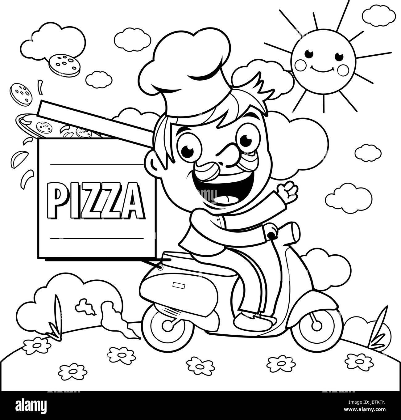 Lieferung Pizzabäcker in Roller. Malvorlagen Vektor Abbildung - Bild ...