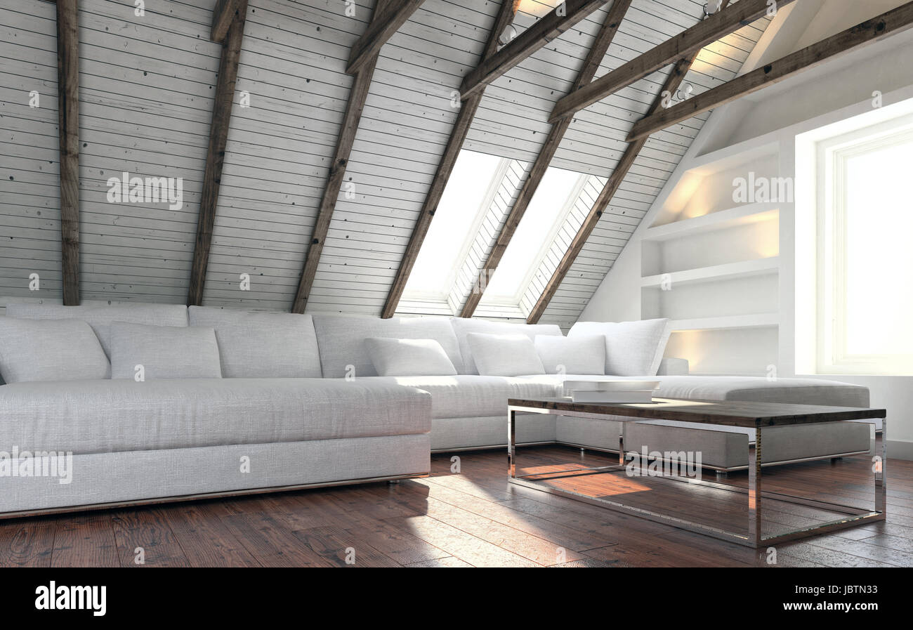 Weiße Couch Und Moderner Tisch Im Wohnzimmer Dachgeschoss Mit Leichten  Minimalistischen Innenarchitektur Im Wohnzimmer. 3D Rendering