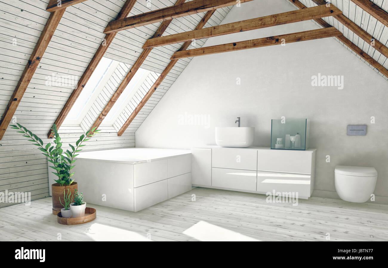 Modernes Bad Im Dachgeschoss Mit Dach Rahmen Sichtbar, Weiße Wände, Helle  Dachfenster Und Zimmerpflanzen. 3D Rendering