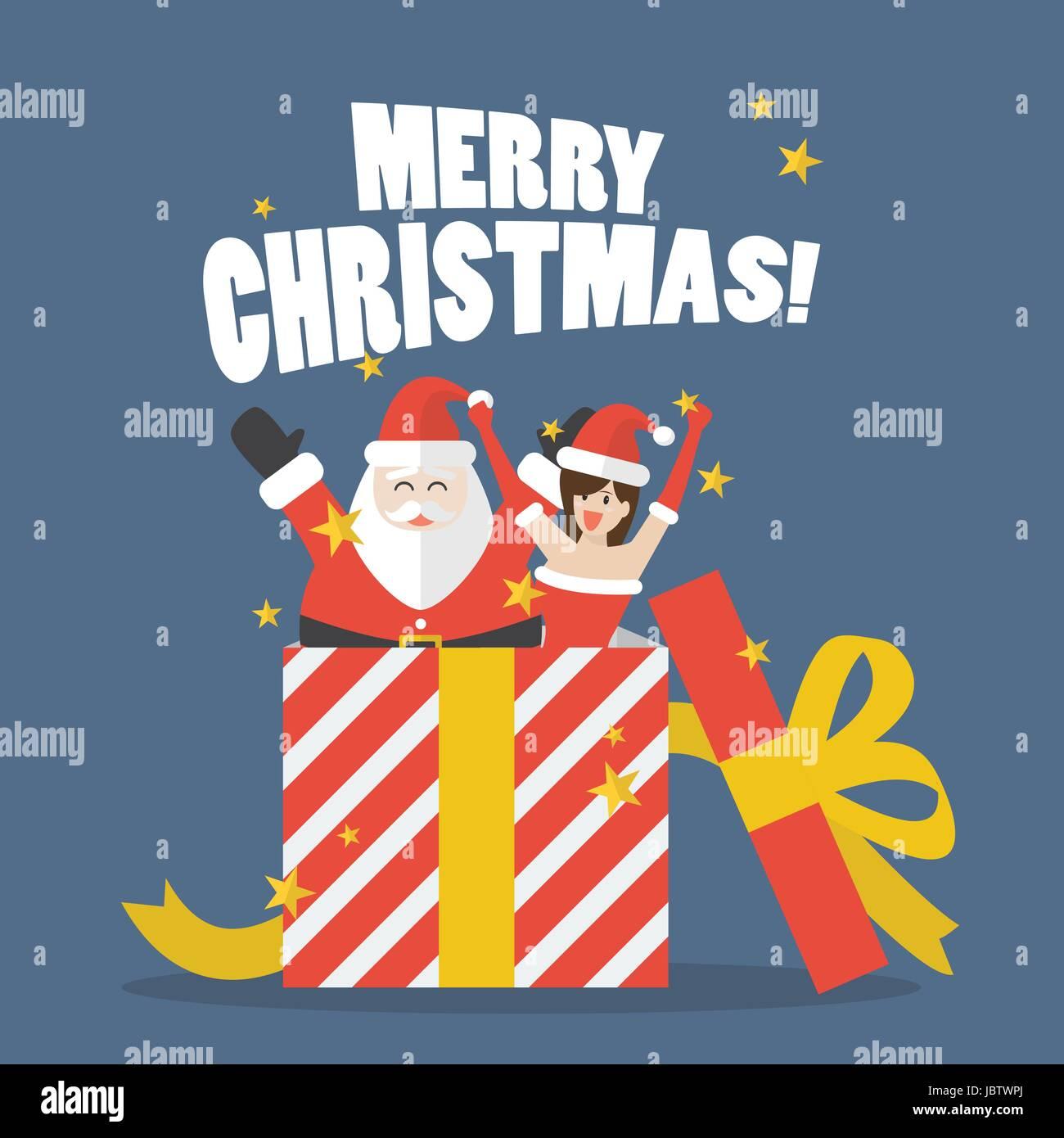 Santa Claus großes Geschenk auspacken. Vektor-illustration Vektor ...