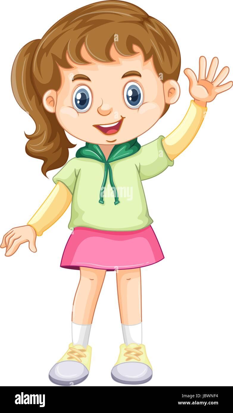 Kleine Mädchen winkenden Hand Abbildung Vektor Abbildung