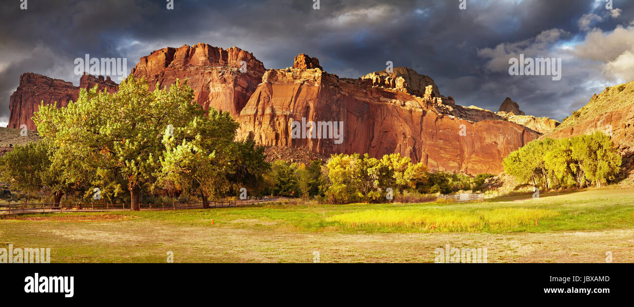 Fruita, die alte Siedlung Mormone, Capitol Reef National Park, Utah, USA Stockbild