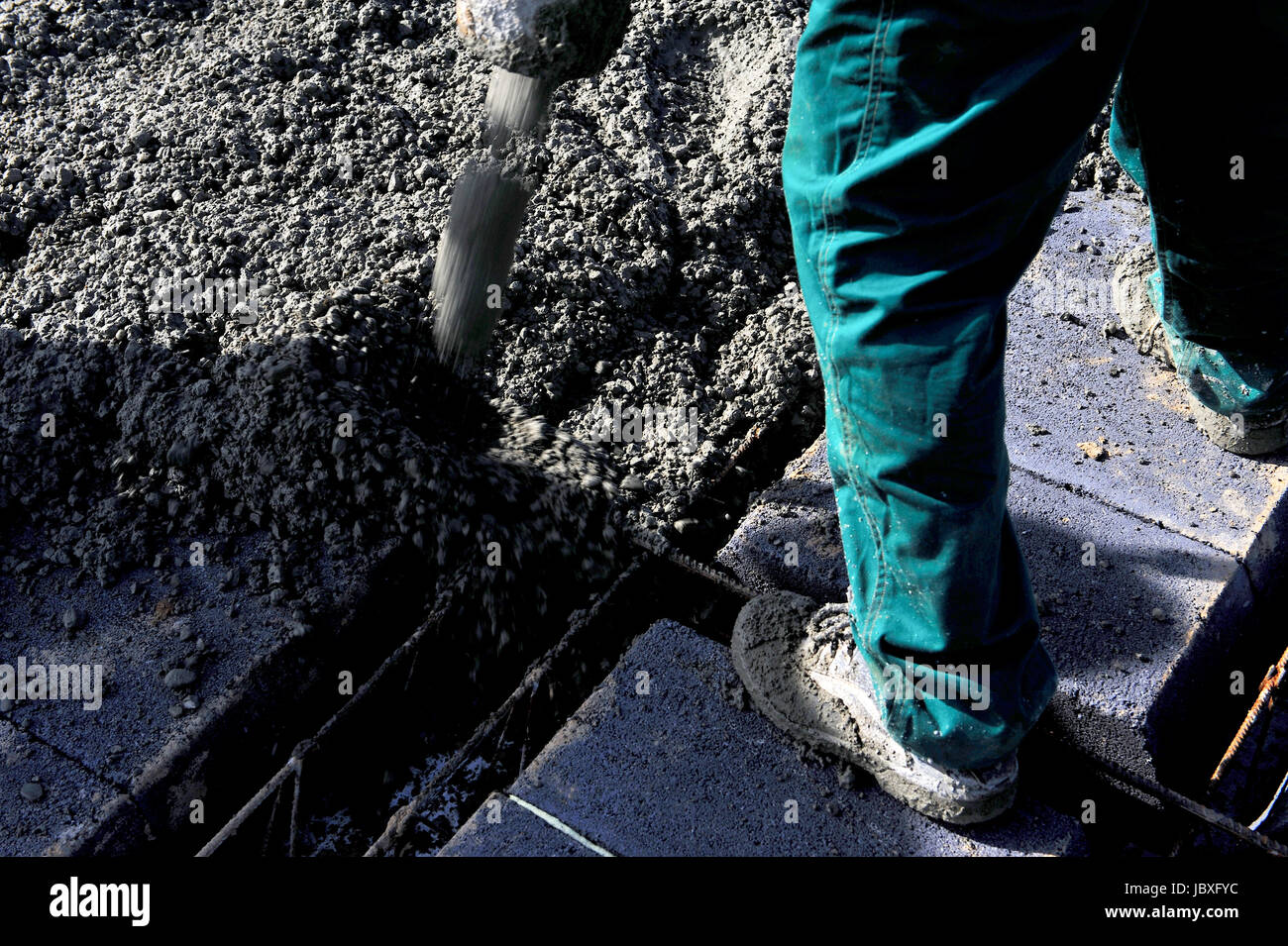 Bau, Beton, Betonieren, Dienstleistungen, Jobs, Job, Zement, Oberflächen, flach, porös, Haus, Decke, Überschwemmungen, Stockbild
