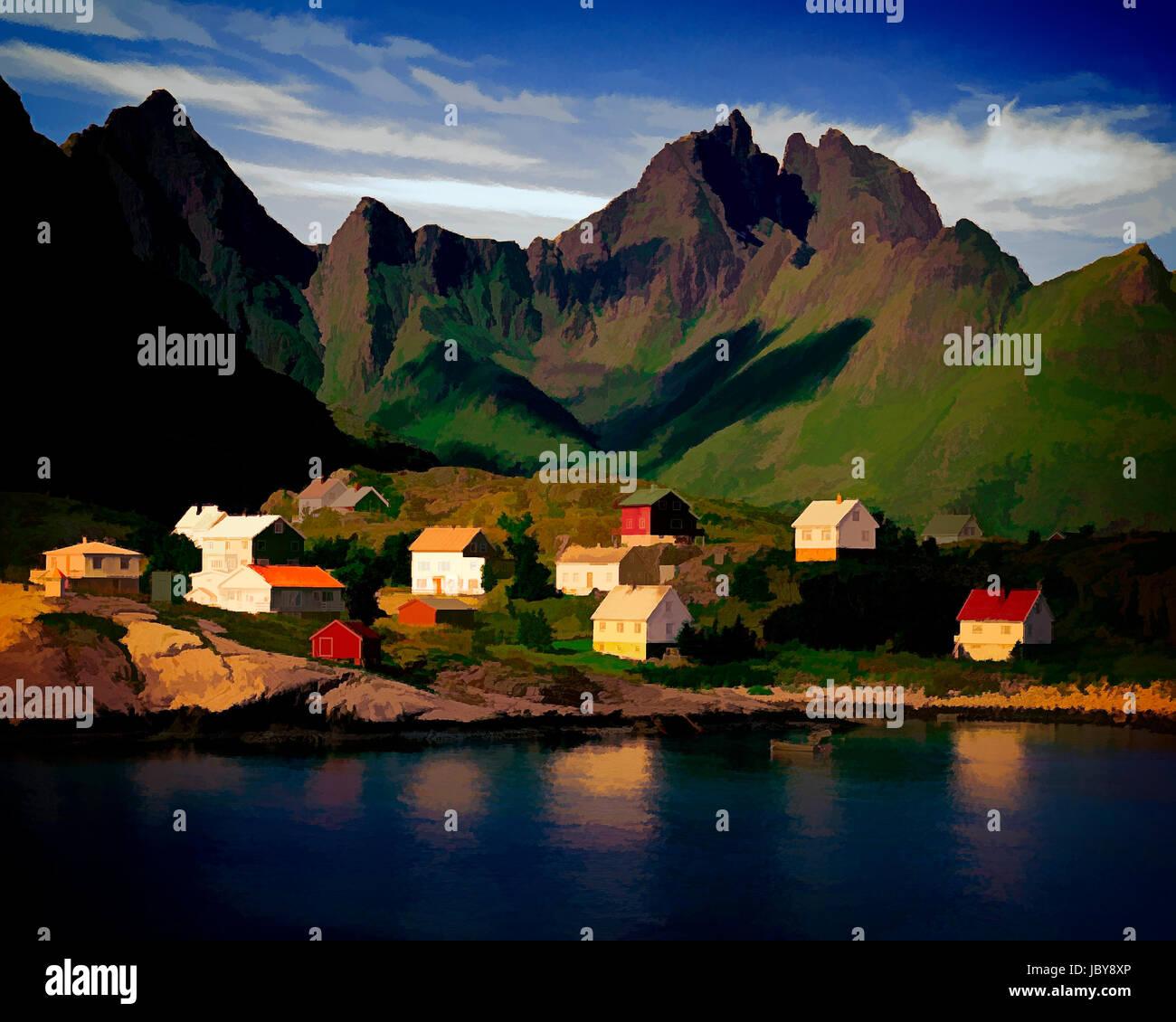 DIGITALE Kunst: Å und Gjerdtindan Berge, Lofoten Inseln, Norwegen Stockbild