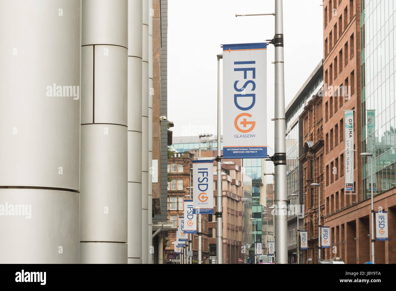 Glasgow International Financial Services District - IFSD - Zeichen, Glasgow, Schottland, UK Stockbild