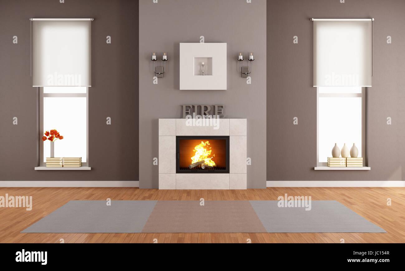 Modernes Wohnzimmer Mit Kamin Und Zwei Senkrechte Fenster   Rendern