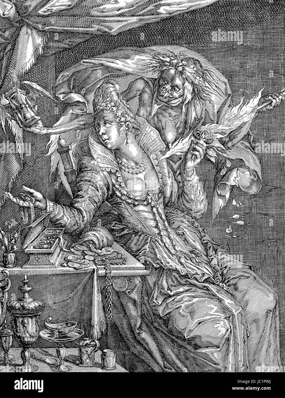 Niederländische Karikatur auf weibliche Eitelkeit, 17. Jahrhundert ...