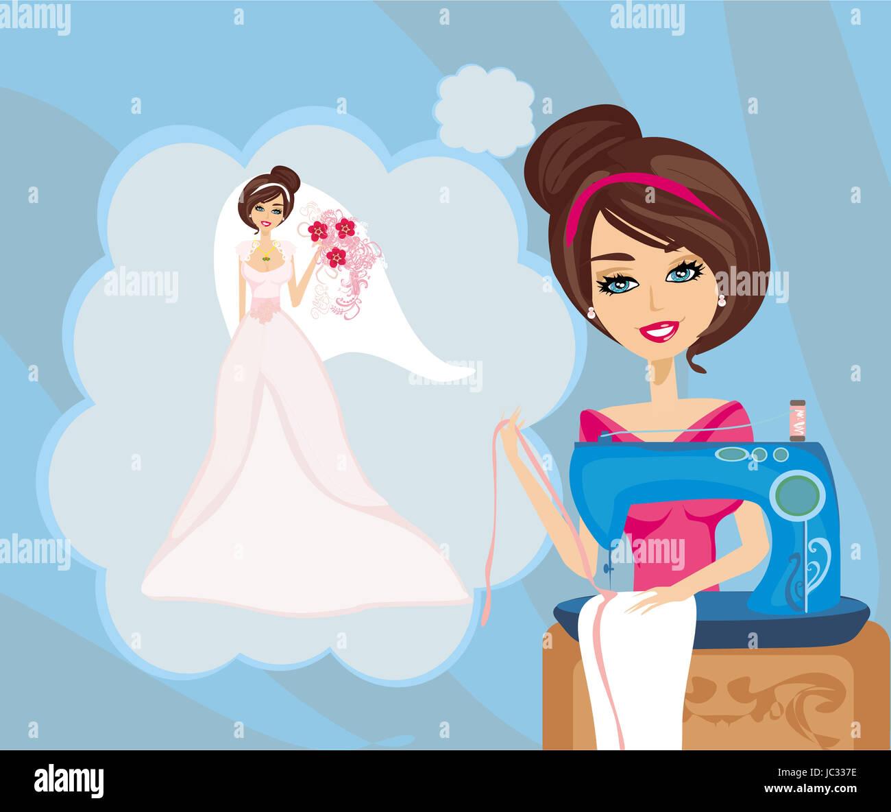 Madchen Mit Nahmaschine Traumt Von Einer Schonen Hochzeitskleid