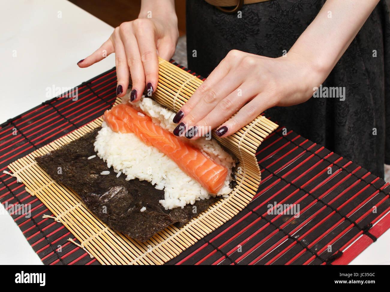 Detail Of Sushi Rolling Mat Stockfotos Detail Of Sushi Rolling Mat