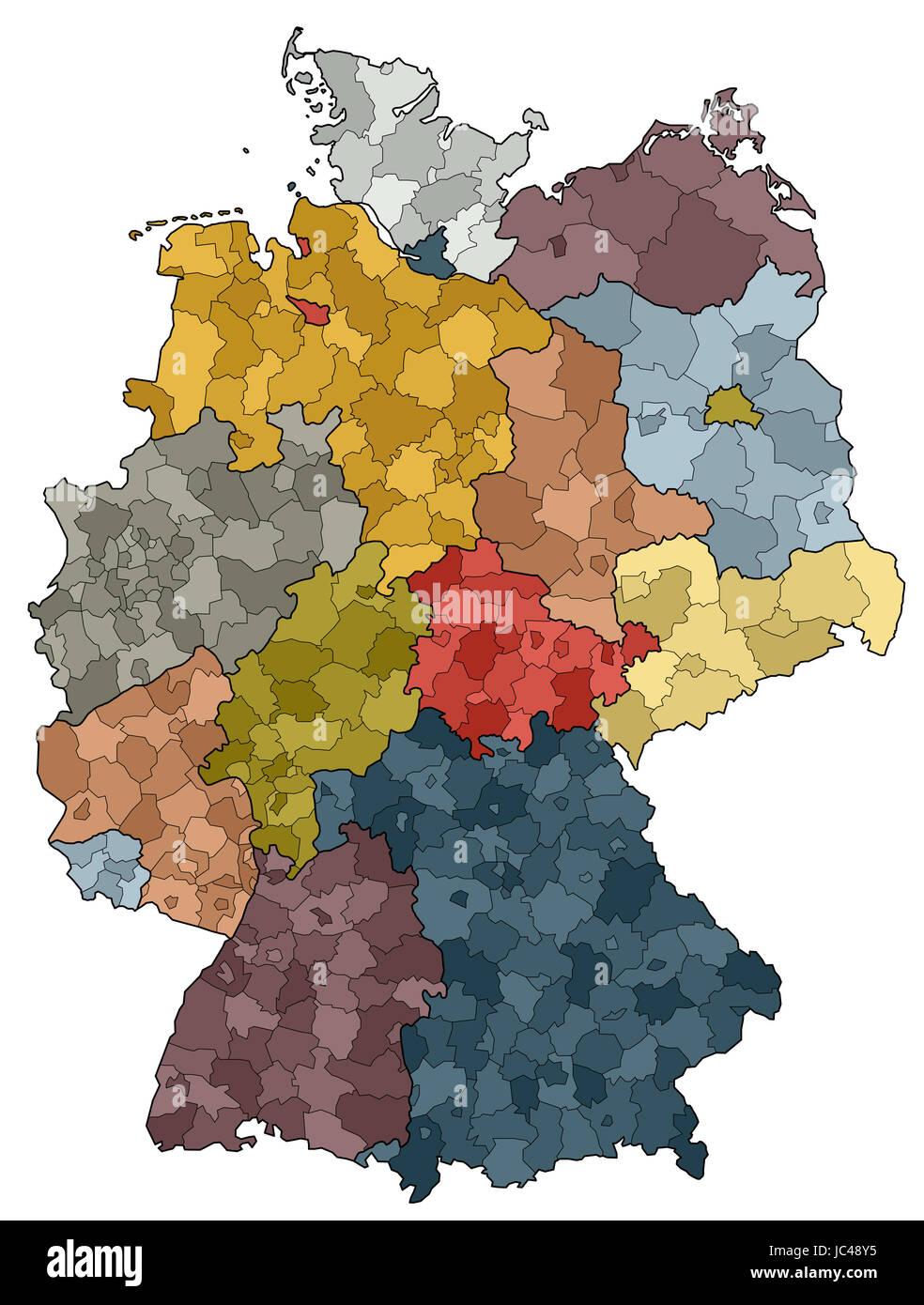 Karte Von Deutschland Bundeslander Und Landkreise Stockfoto