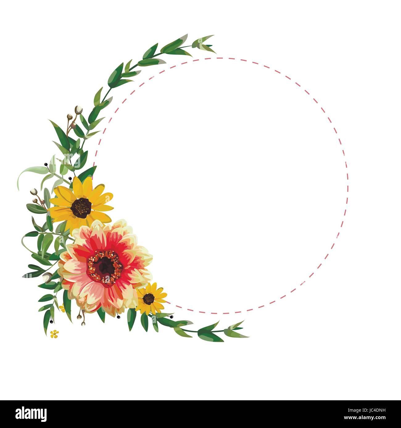 Blume kreis um kranz blumen gelb orange dahlia sonnenblume eukalyptus blätter schön schöne herbst stockbild