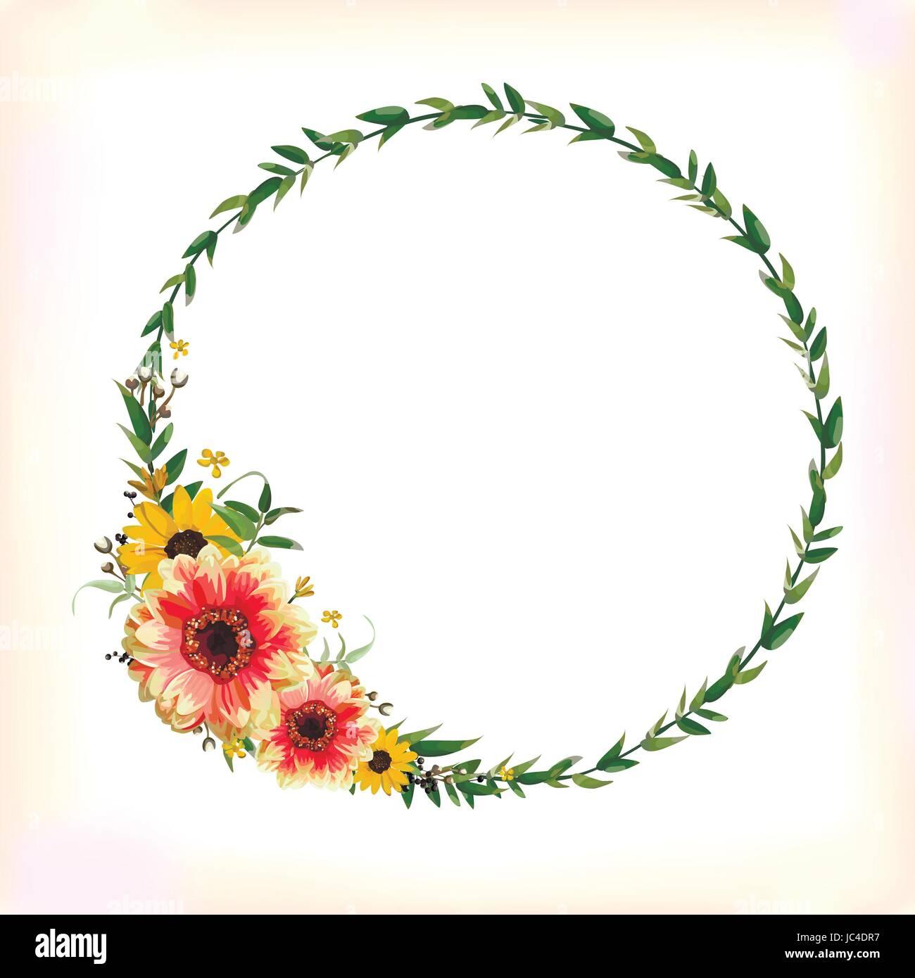 Blume kreis um kranz blumen gelb orange dahlia sonnenblume eukalyptus zweig mit grünen blättern