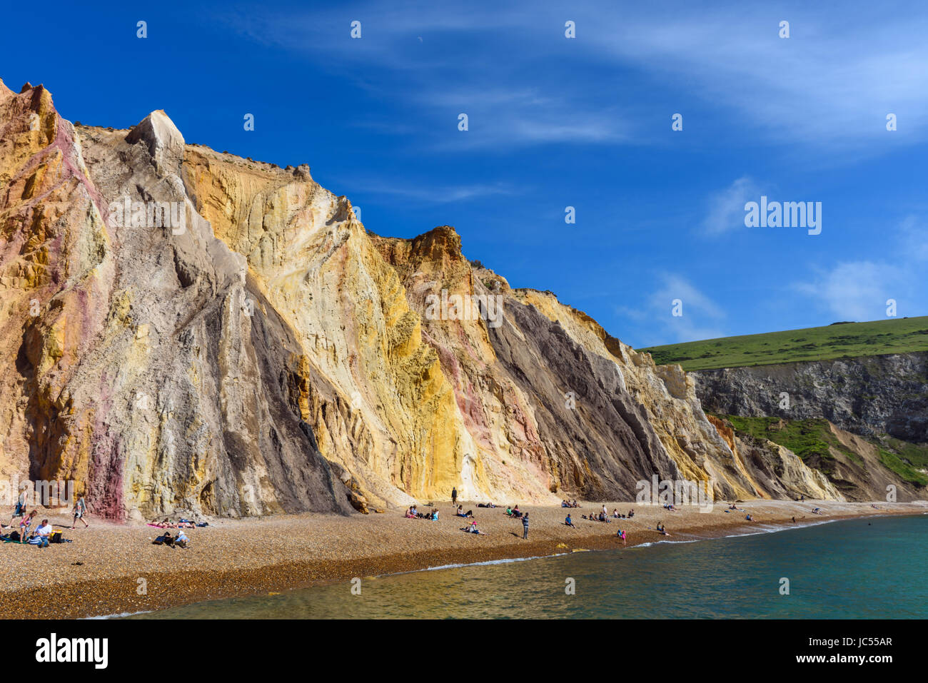 Alum Bay Sands, Isle Of Wight, Großbritannien Stockfoto