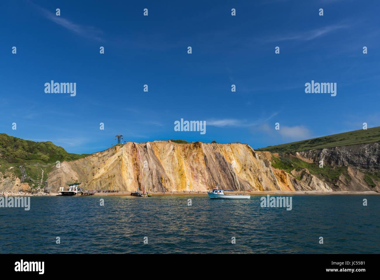 Alum Bay Sands, Isle Of Wight, Großbritannien Stockfoto