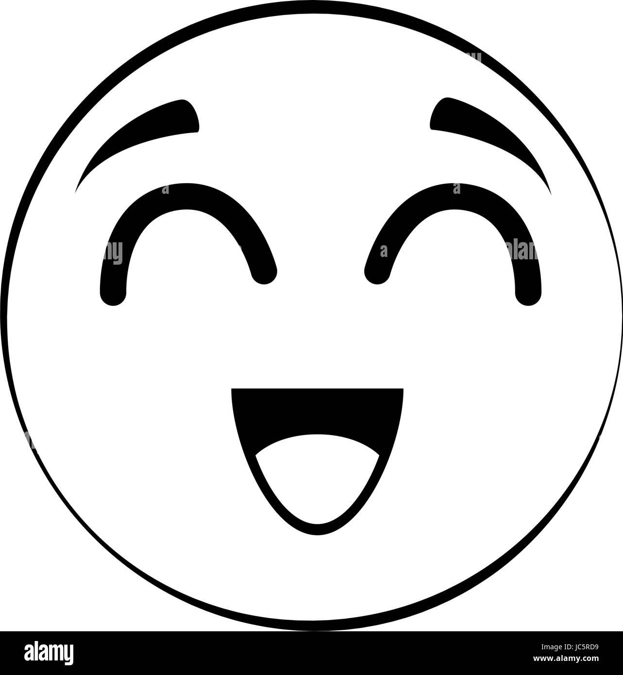 Black White Cartoon Illustration Emoticon Stockfotos & Black White ...