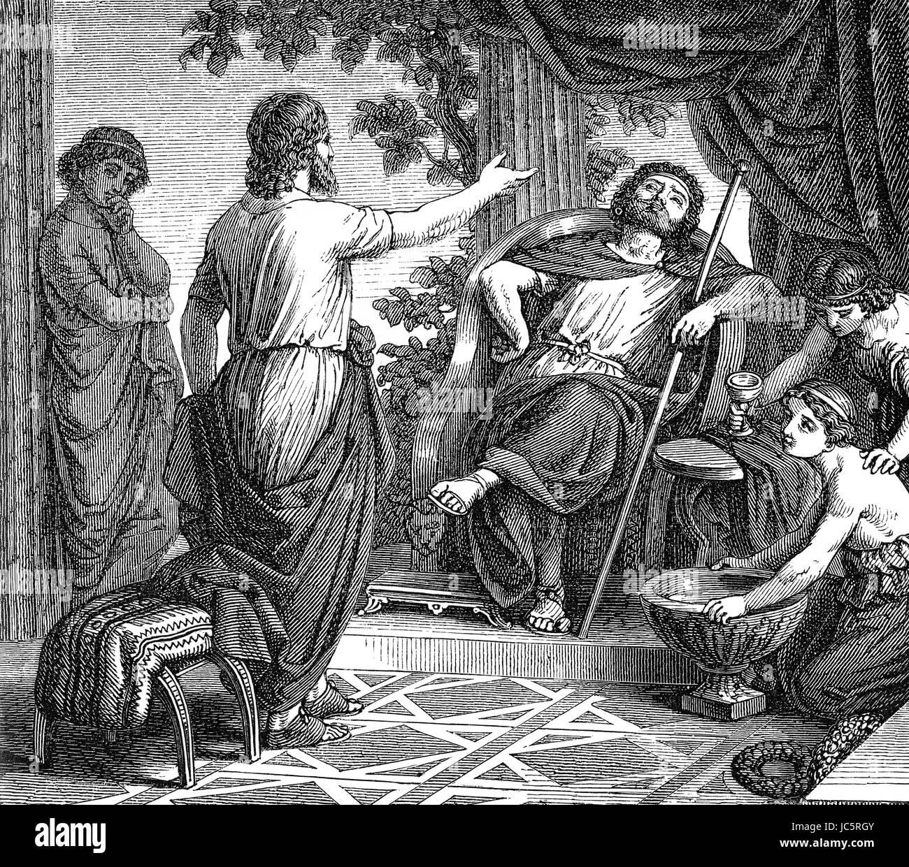 366 v. Chr., Plato Dionysios der jüngere oder Dionysius II, ca. 397 v. Chr. - 343 v. Chr. in Syrakus auf Sizilien Stockbild