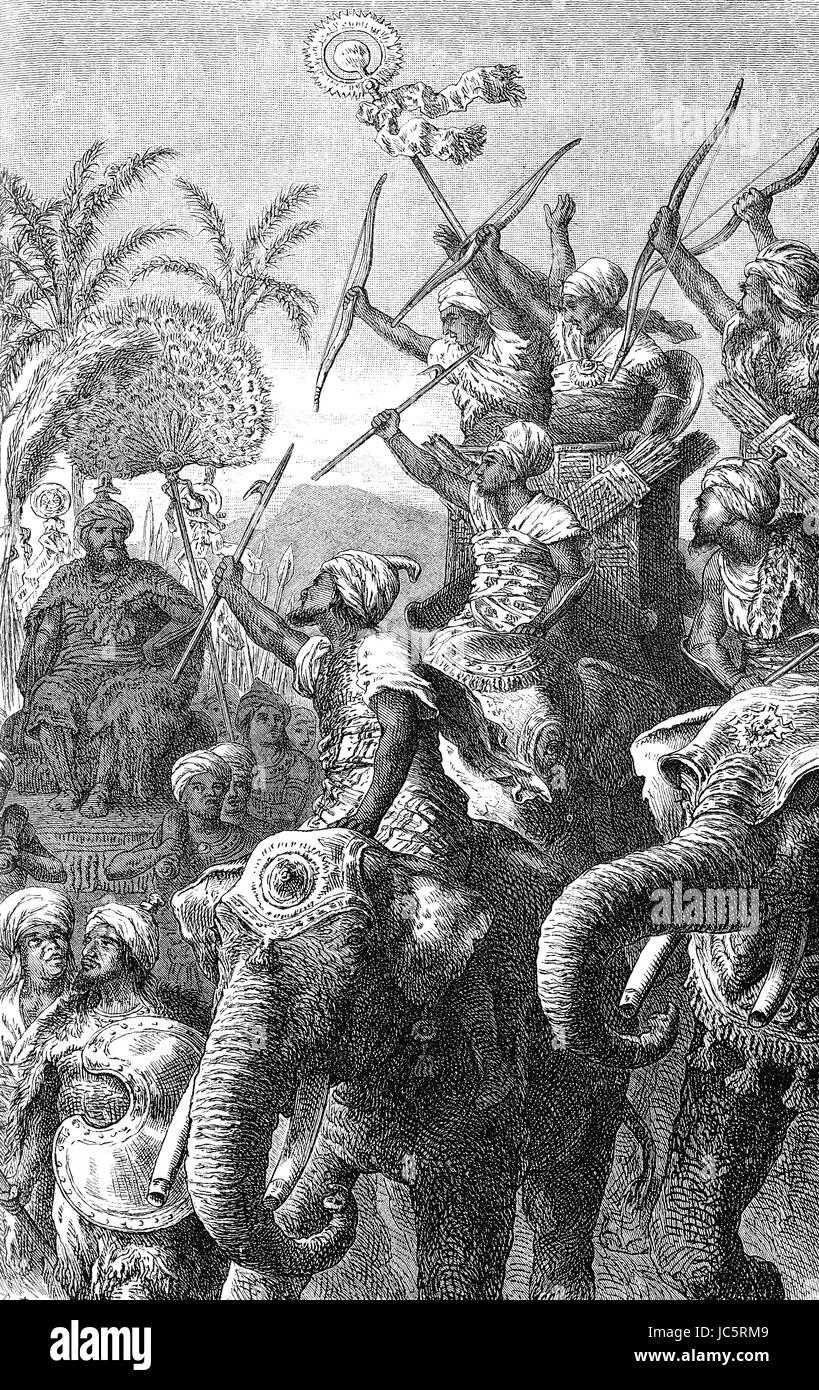 Poros oder Poros, König der Pauravas, alten Punjab und seine Elefanten-Kavallerie Stockbild