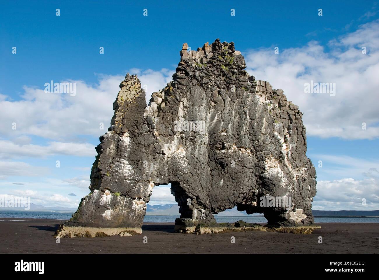 Europa, Island, Halbinsel Vatnsnes, Hvítserkur, Vogel rockt, Europa, Insel, Halbinsel Vatnsnes, Vogelfelsen Stockbild