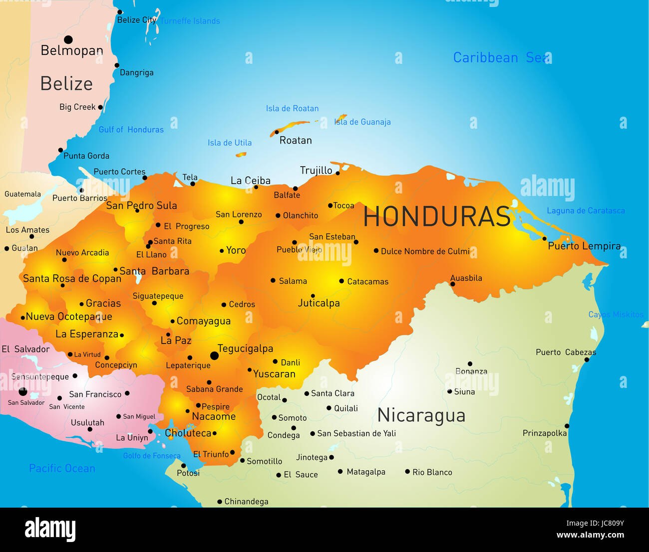 Honduras Country Vector Color Map Stockfotos & Honduras Country ...
