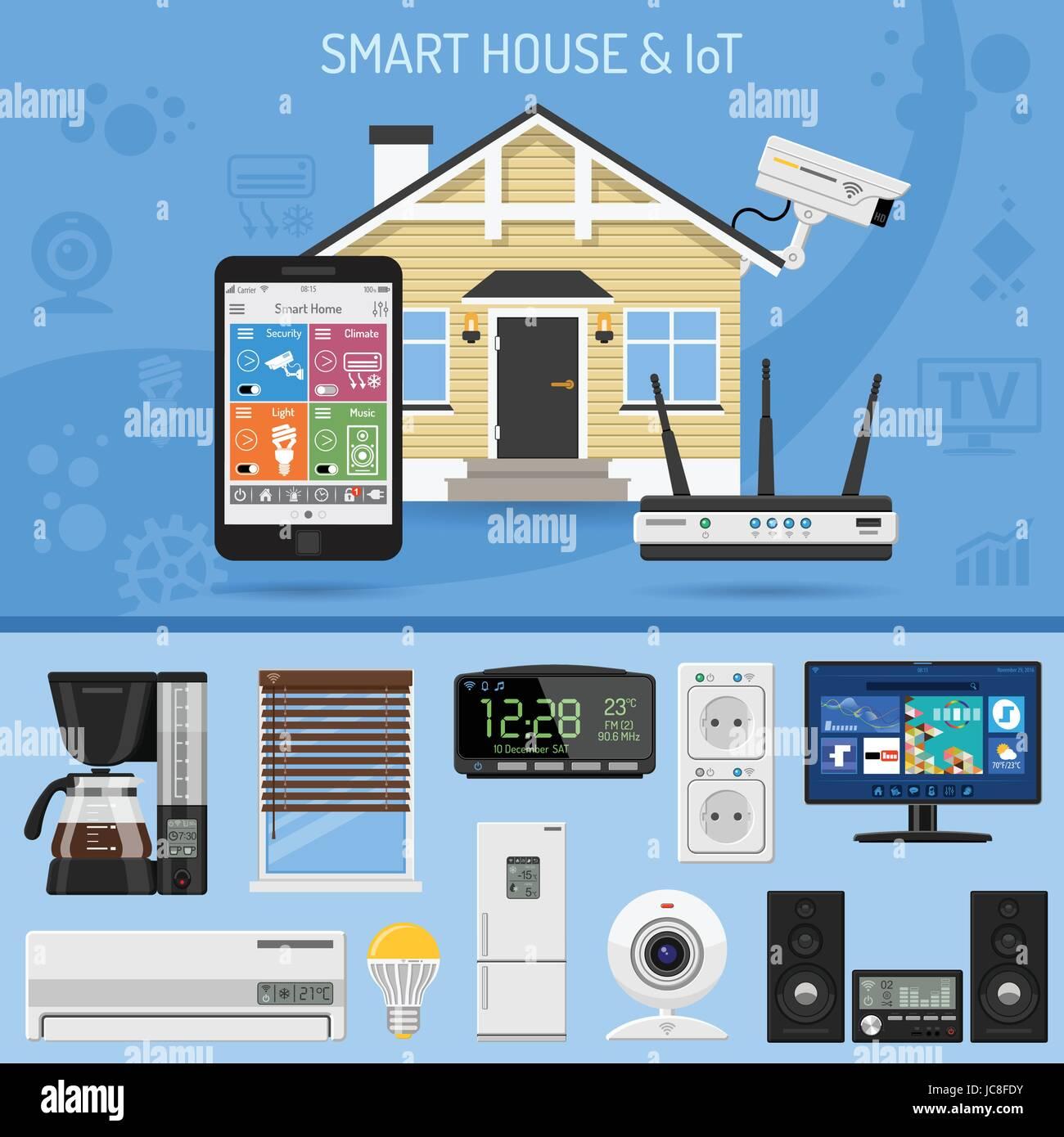 Smart House und Internet der Dinge-Konzept. Smartphone steuert ...