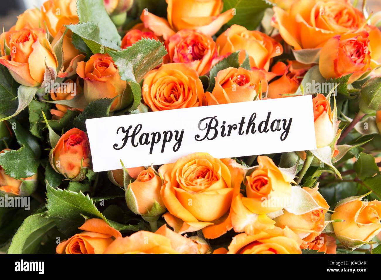 Happy Birthday Card Mit Orange Rosen Bouquet Hautnah