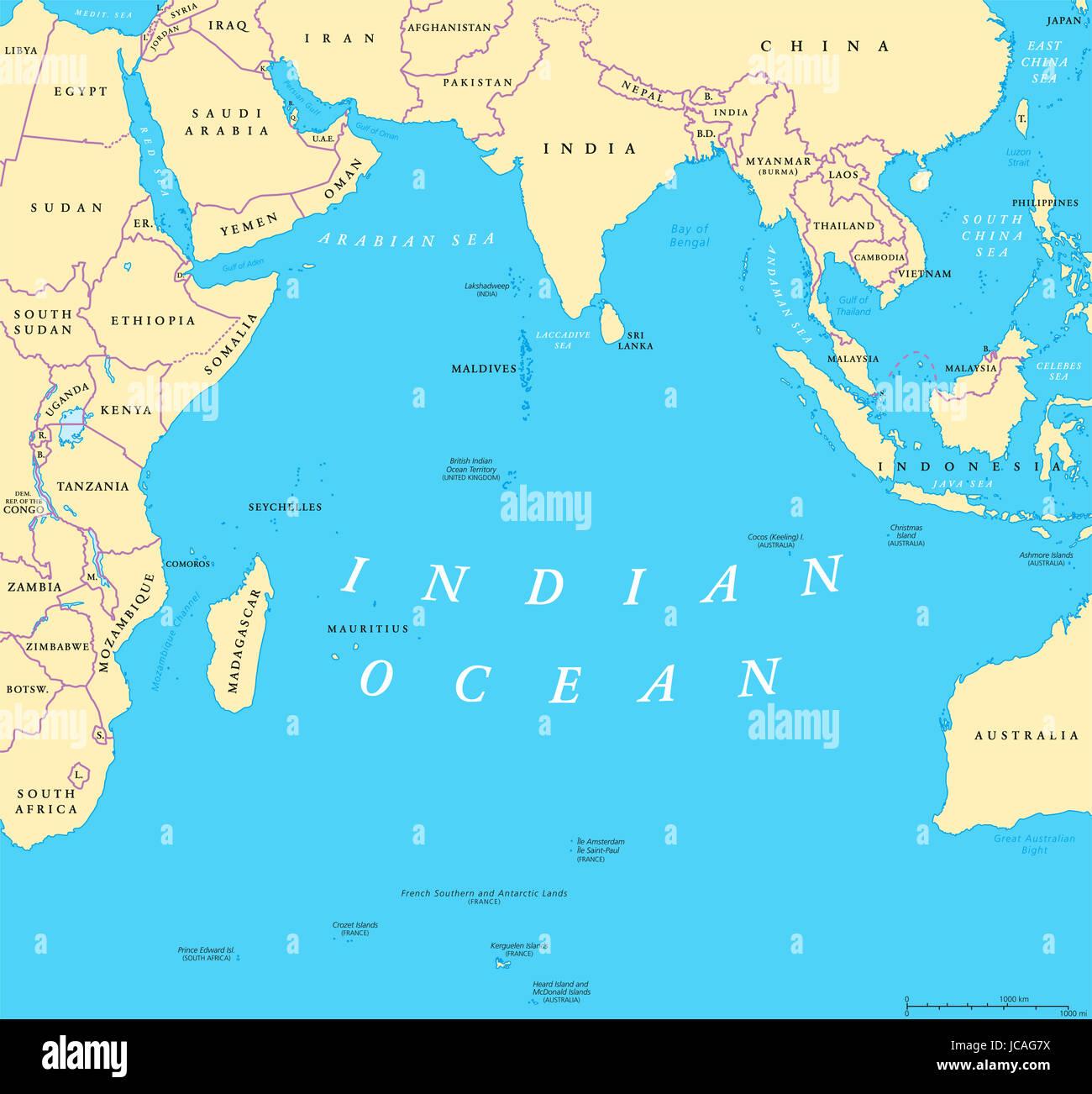 Politische Karte Asien.Politische Karte Der Indischen Ozean Länder Und Grenzen Weltweit