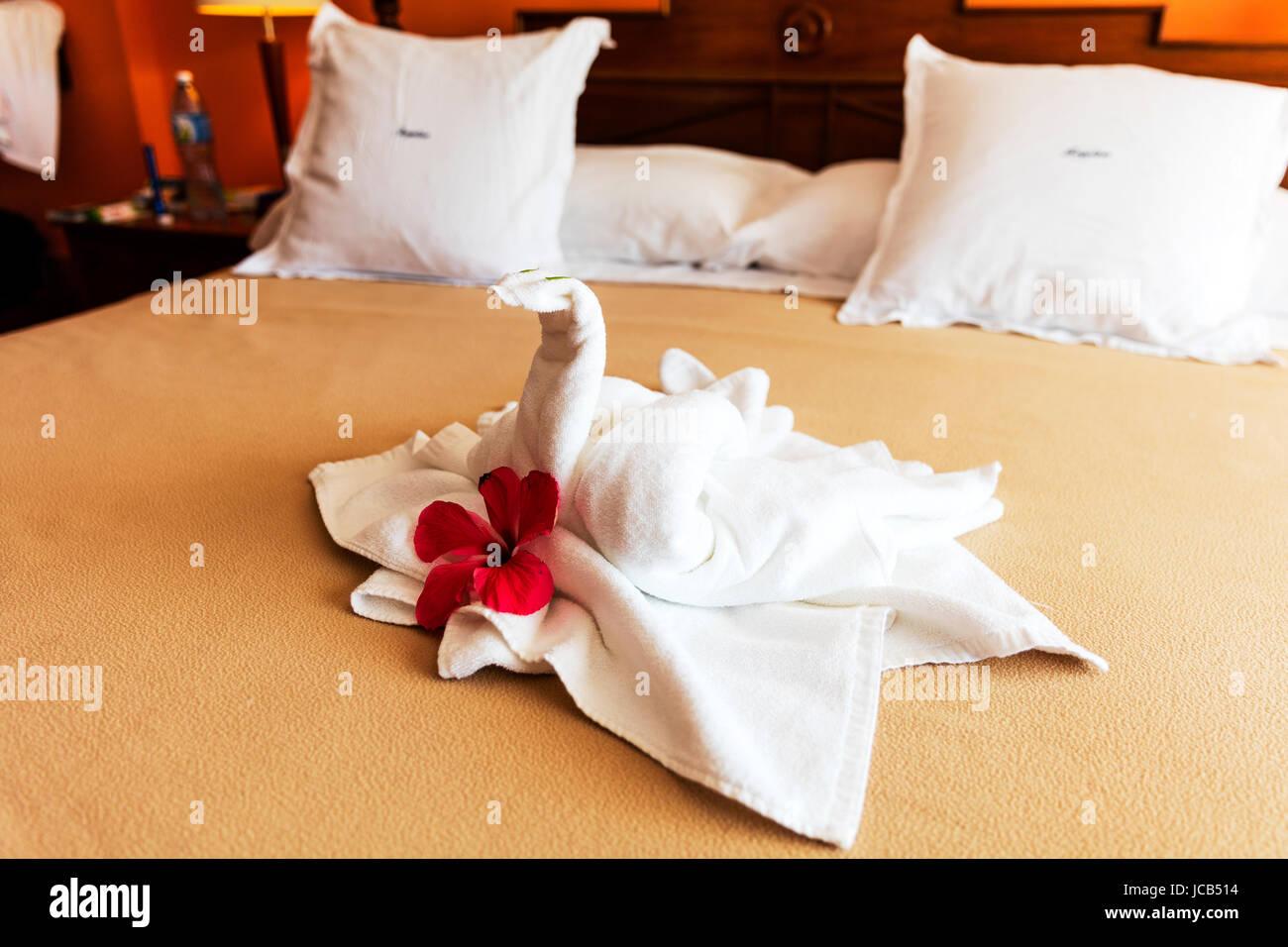Bett Suite Dekoriert Mit Blumen Und Swan Handtuch Dekoration Bett