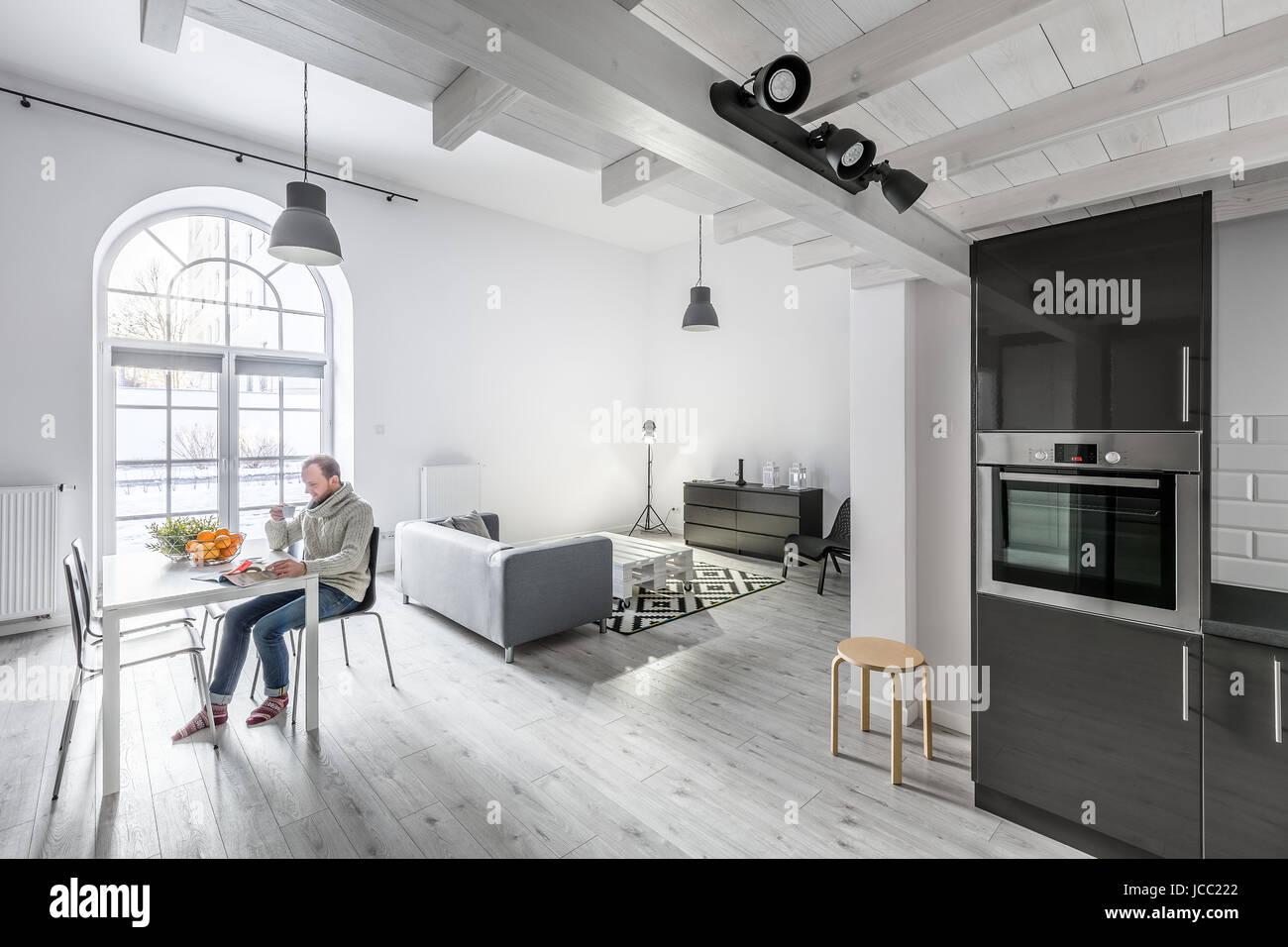 Open Plan Living Room Kitchen Stockfotos & Open Plan Living Room ...