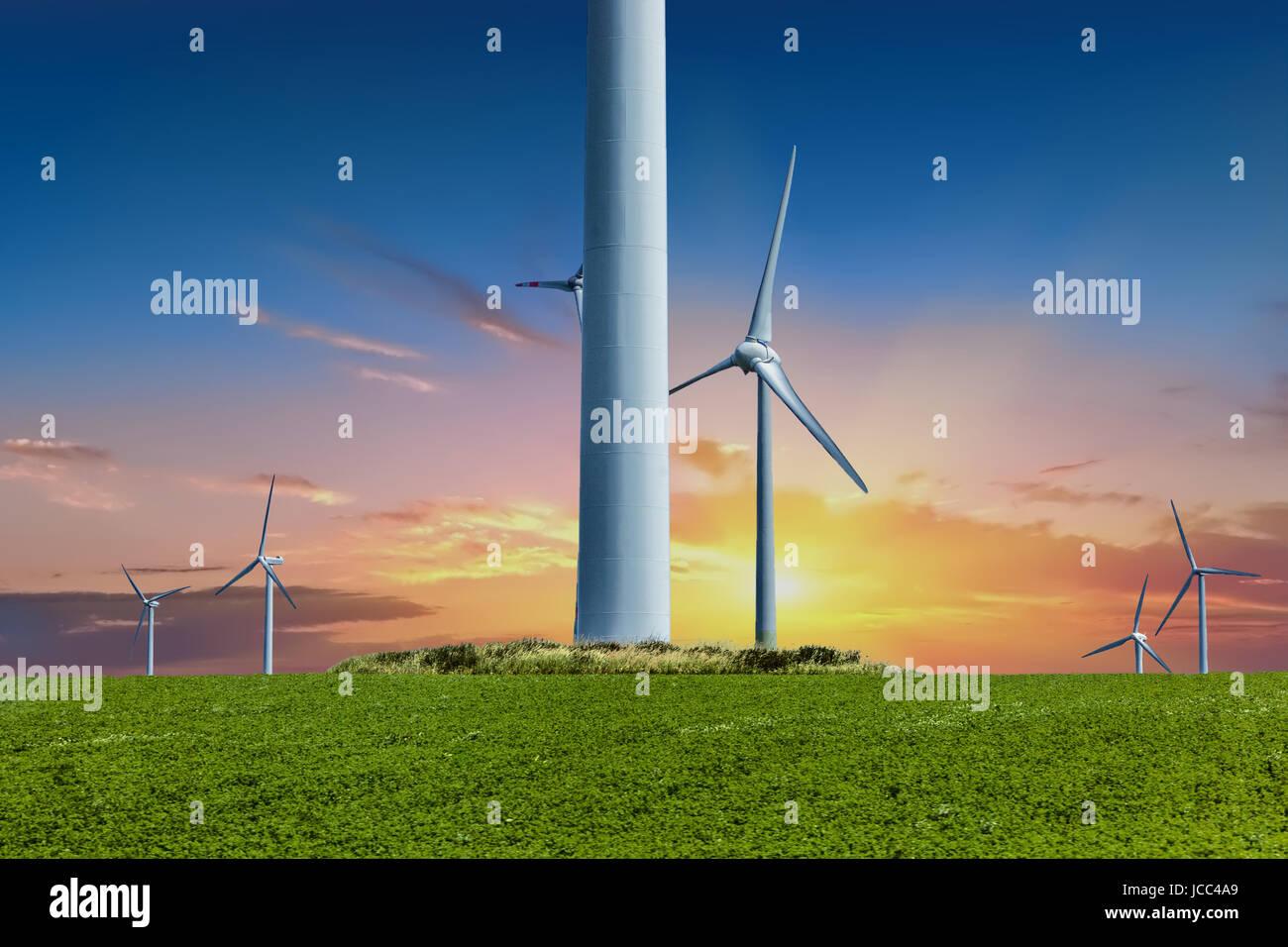 Alternative Energie, Windkraftanlagen, Windpark im Sonnenuntergang, Deutschland Stockbild