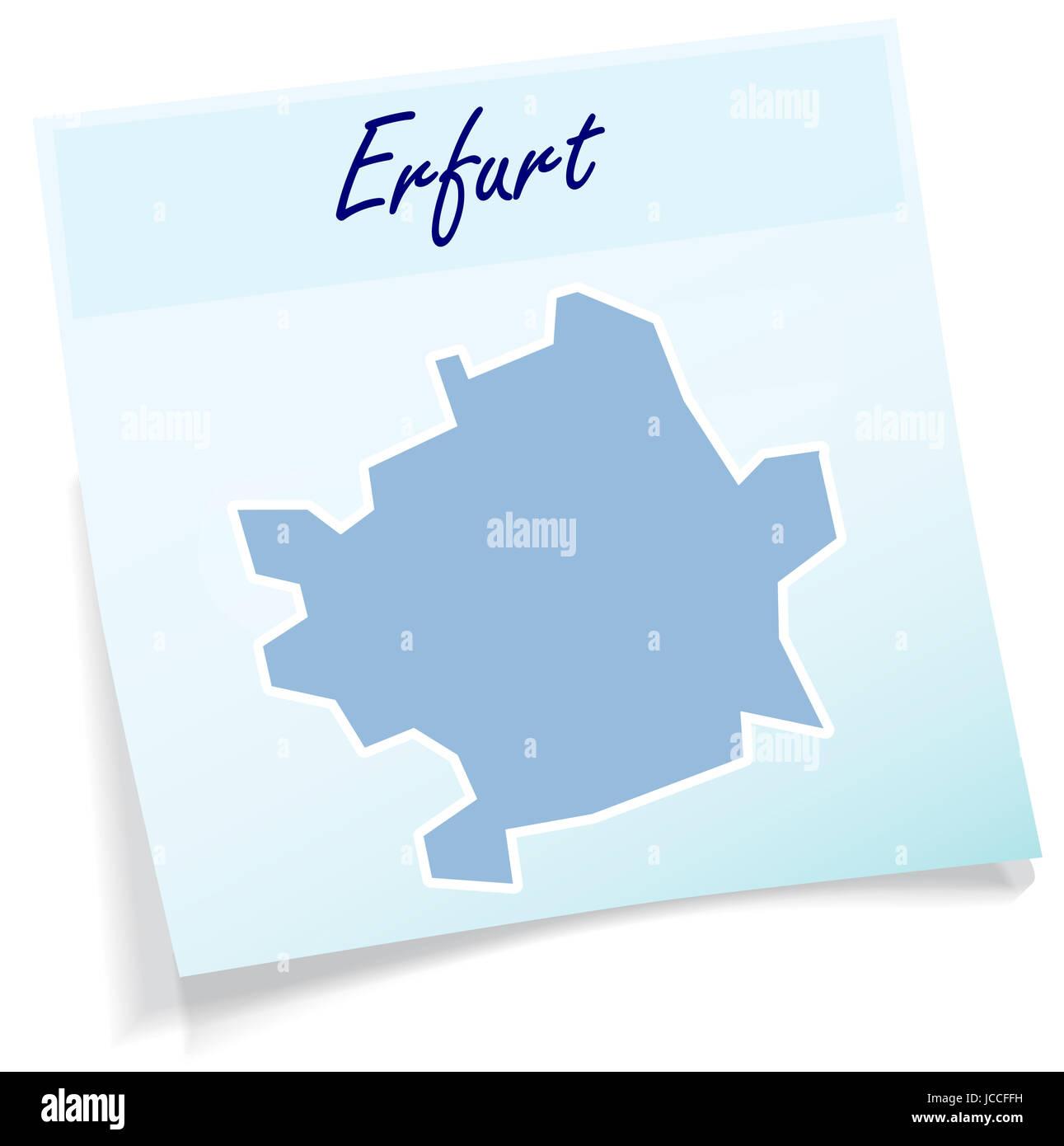 Erfurt Als Notizzettel In Blau Stockbild