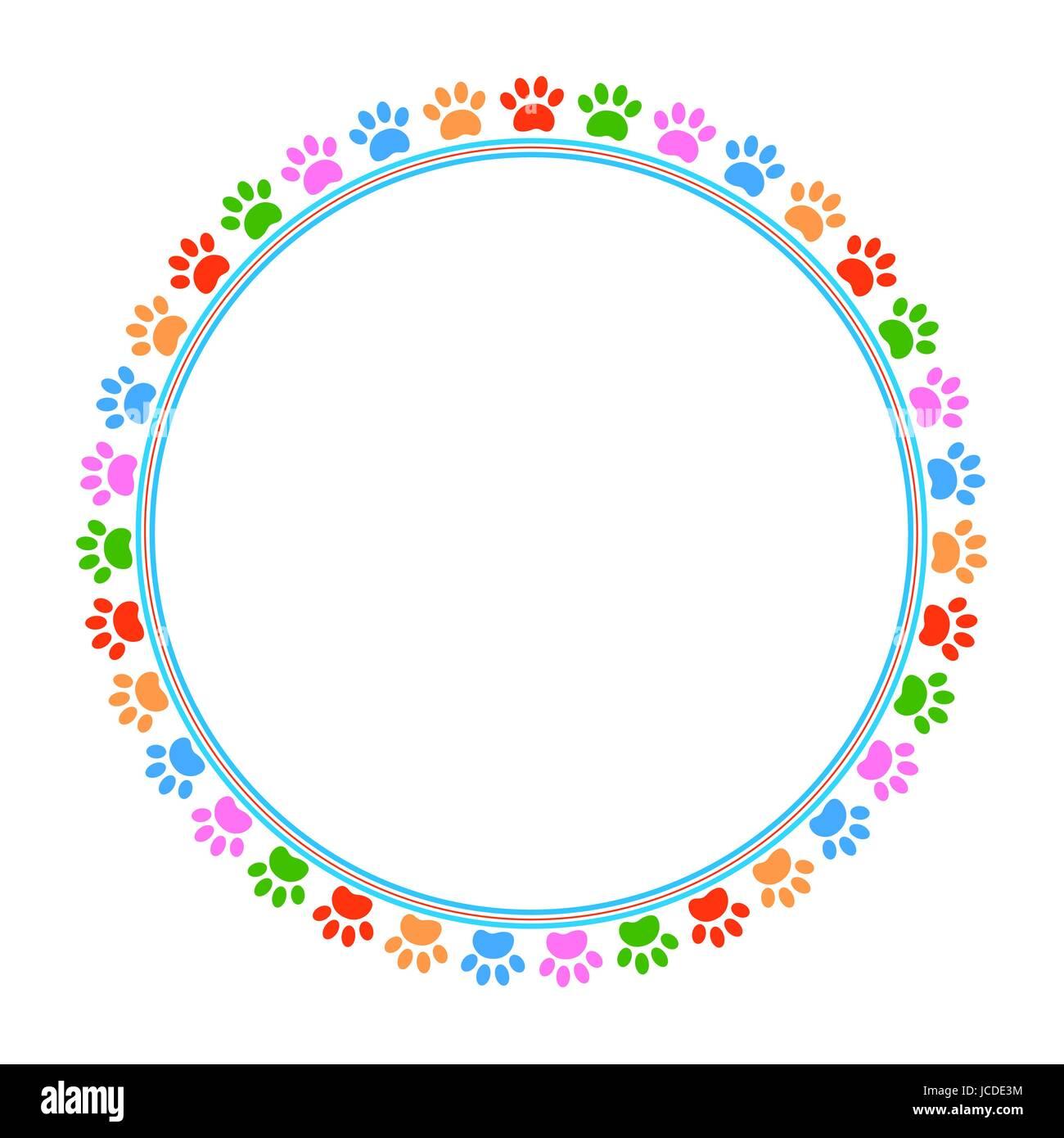 Bunte Pfoten Tier runden Rahmen mit leeren Platz für Ihren Text und ...