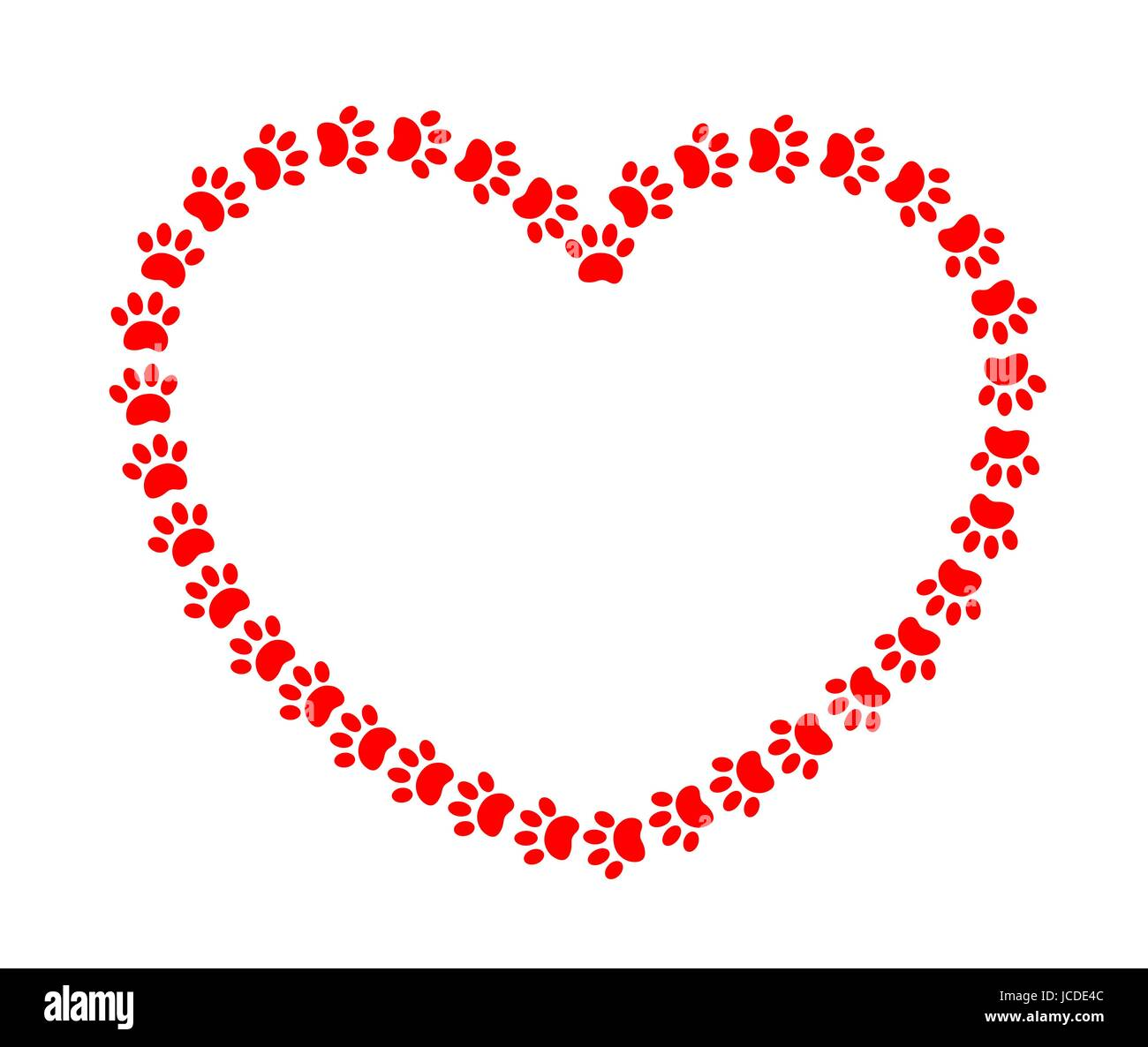 Herz-Rahmen mit roten Pfoten Tiere Vektor Abbildung - Bild ...