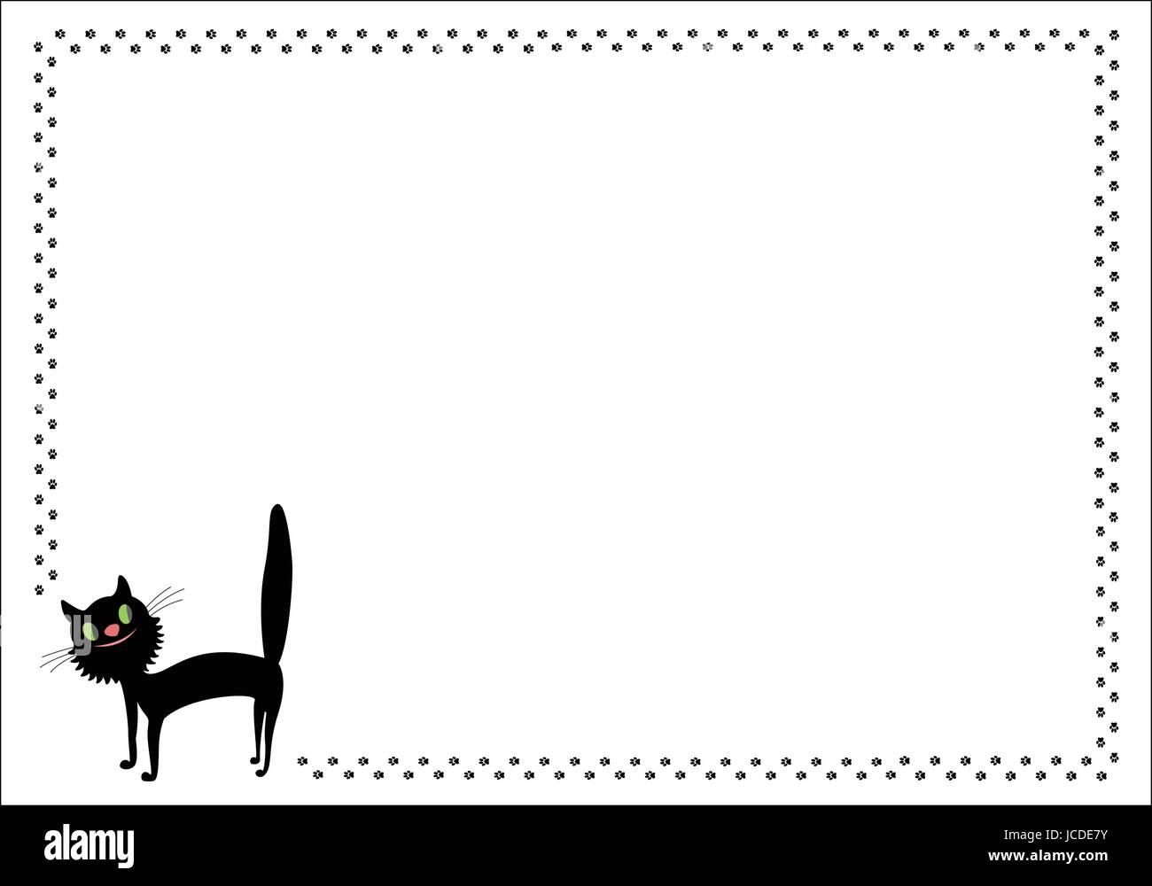 Comic-schwarze Katze-Rahmen mit Pfotenabdrücken Wandern Vektor ...