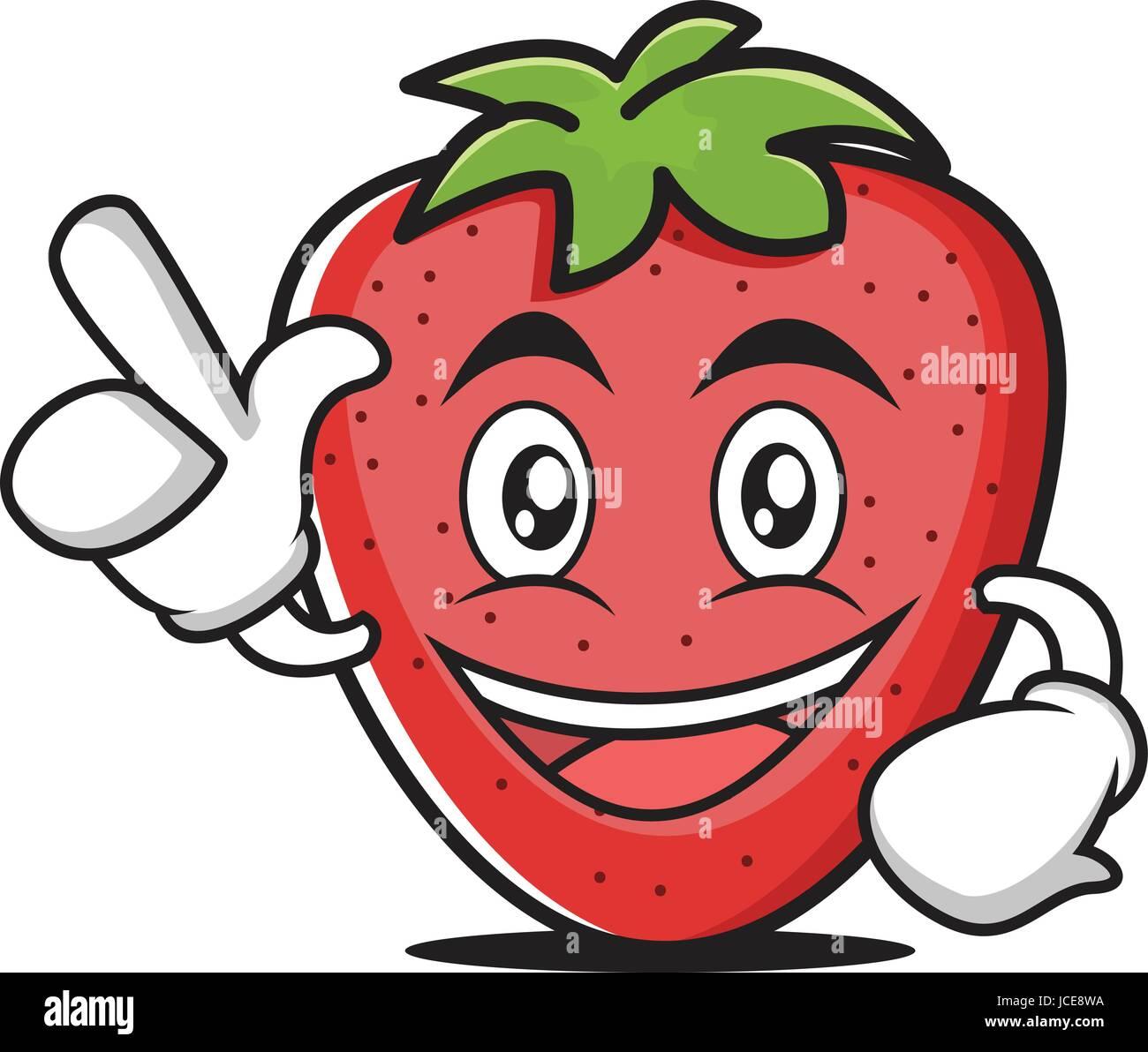Haben Sie eine Idee-Erdbeer Cartoon-Figur Stockbild