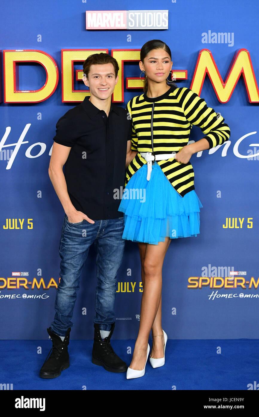 Zendaya und Tom Holland Teilnahme an Spider Man Homecoming ...