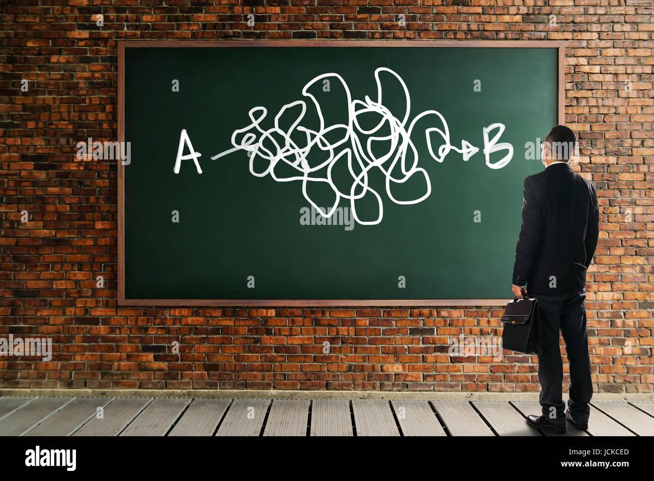 Geschäftsmann sah und dachte vor der Tafel Wand mit der komplizierten Lösung von Punkt A nach Punkt B. Stockbild