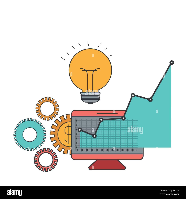 weißer Hintergrund mit bunten Display Computer und Grafiken Wachstumsgesellschaft Stockbild