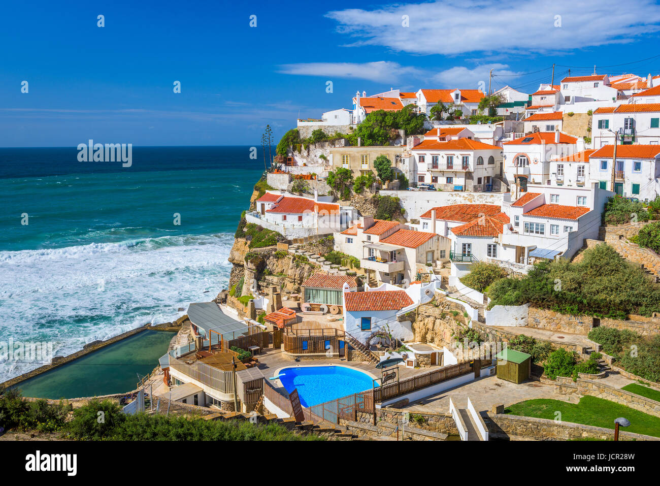Azenhas Do Mar, Portugal Küstenstadt. Stockbild