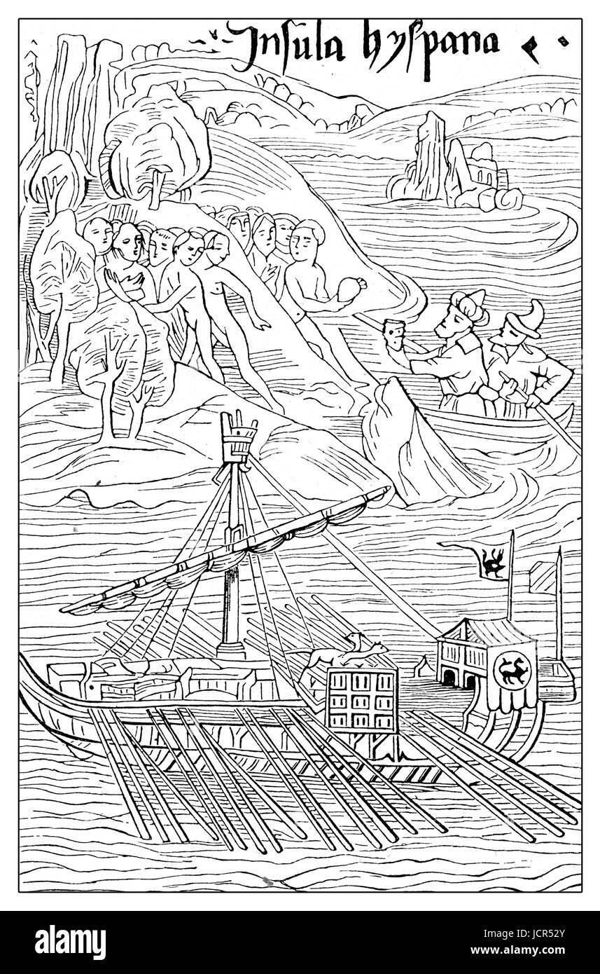 Kolumbus Erste Neue Welt Landung Auf Der Insel Guanahani San