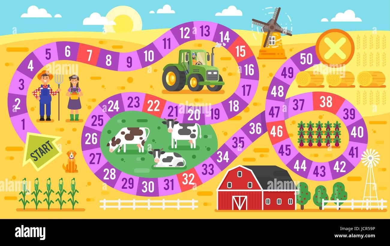 Flache Vektorgrafik Kinder Bauernhof Brettspiel Vorlage. Für den ...