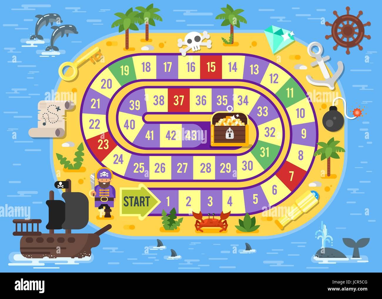 Flache Vektorgrafik Kinder Piraten Brettspiel Vorlage Für Den Druck