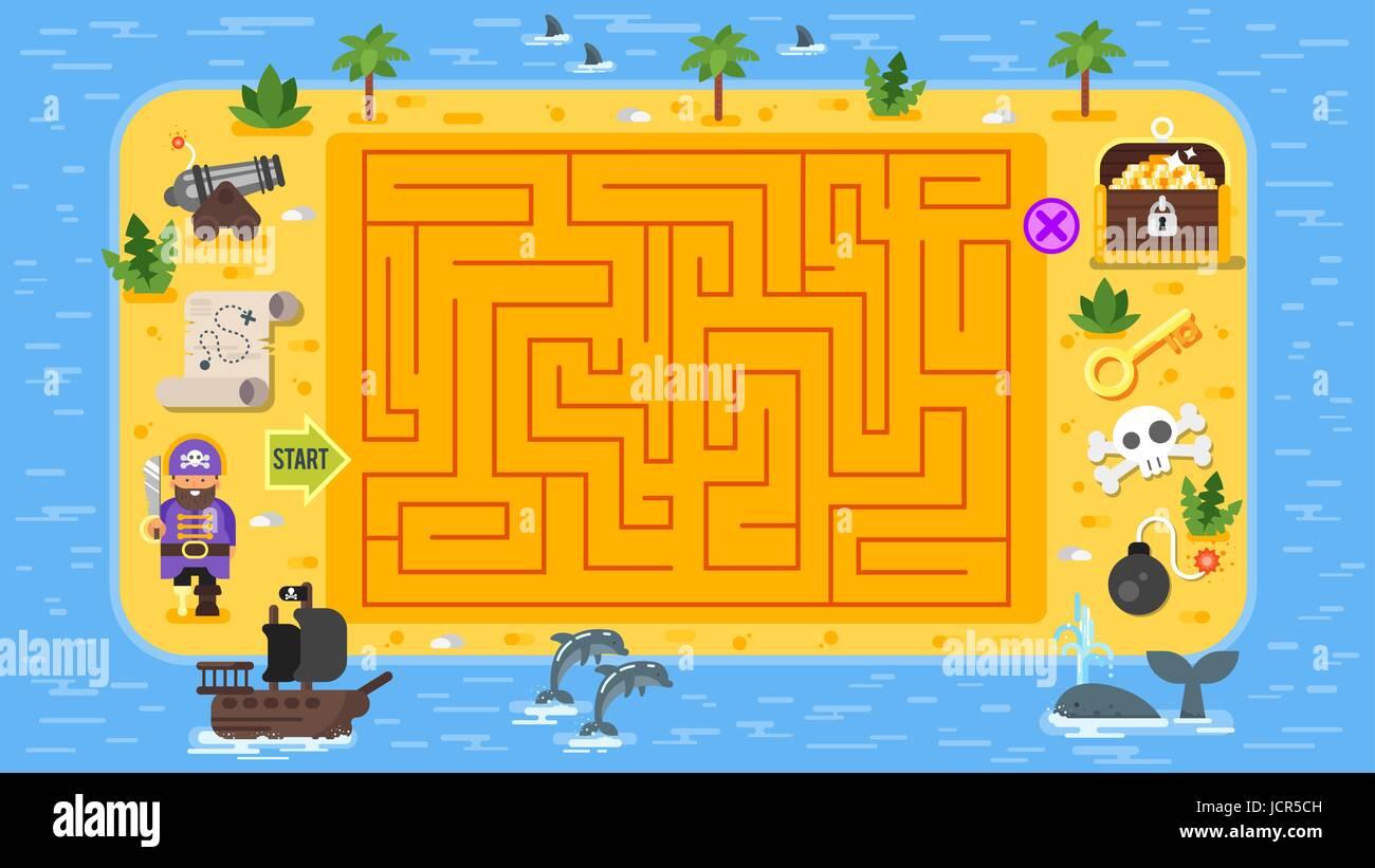 Flache Vektorgrafik Kinder Piraten Brettspiel Vorlage. Für den Druck ...