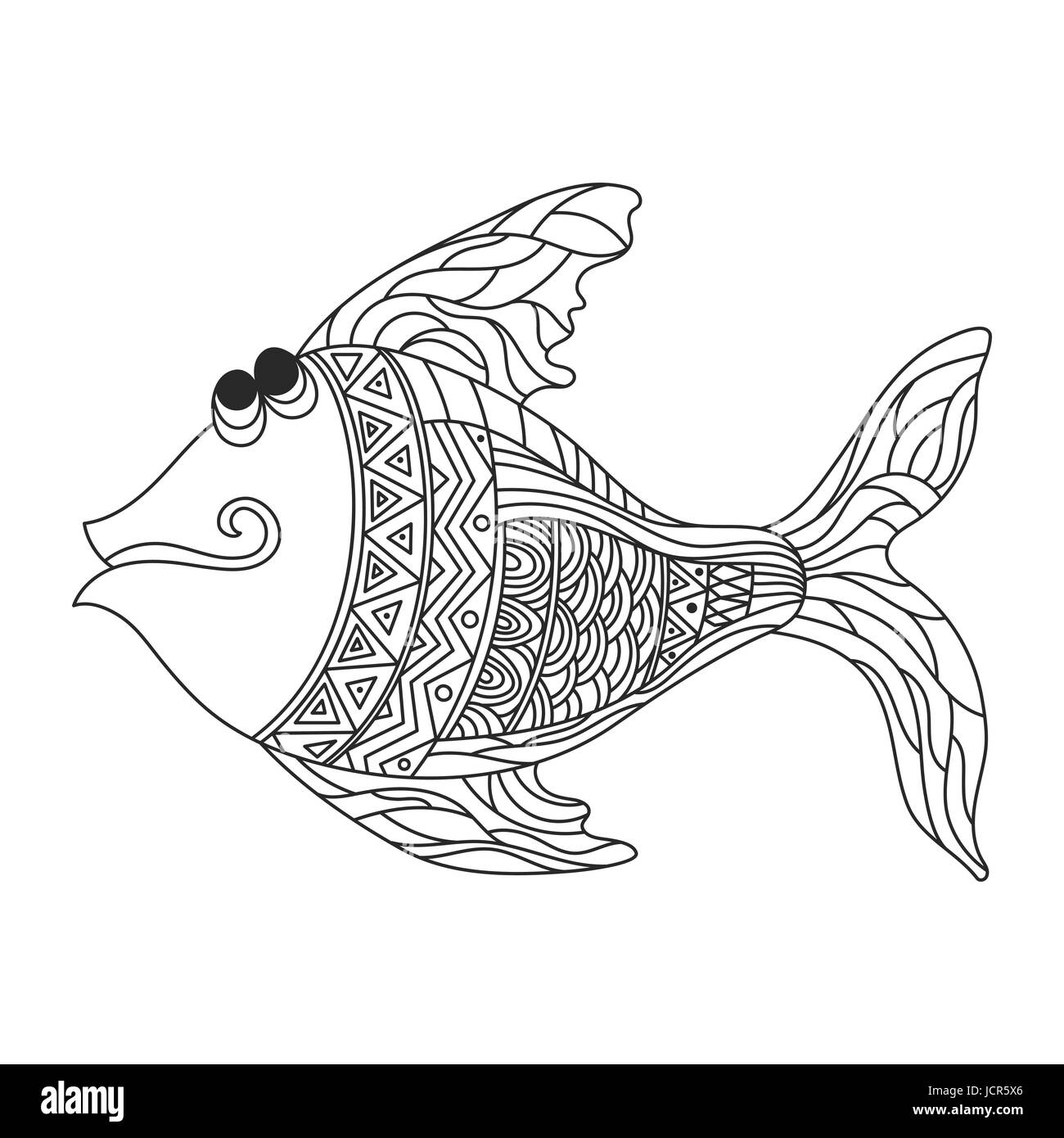 Vektor monochrome handgezeichneten Zentagle Abbildung von niedlichen ...