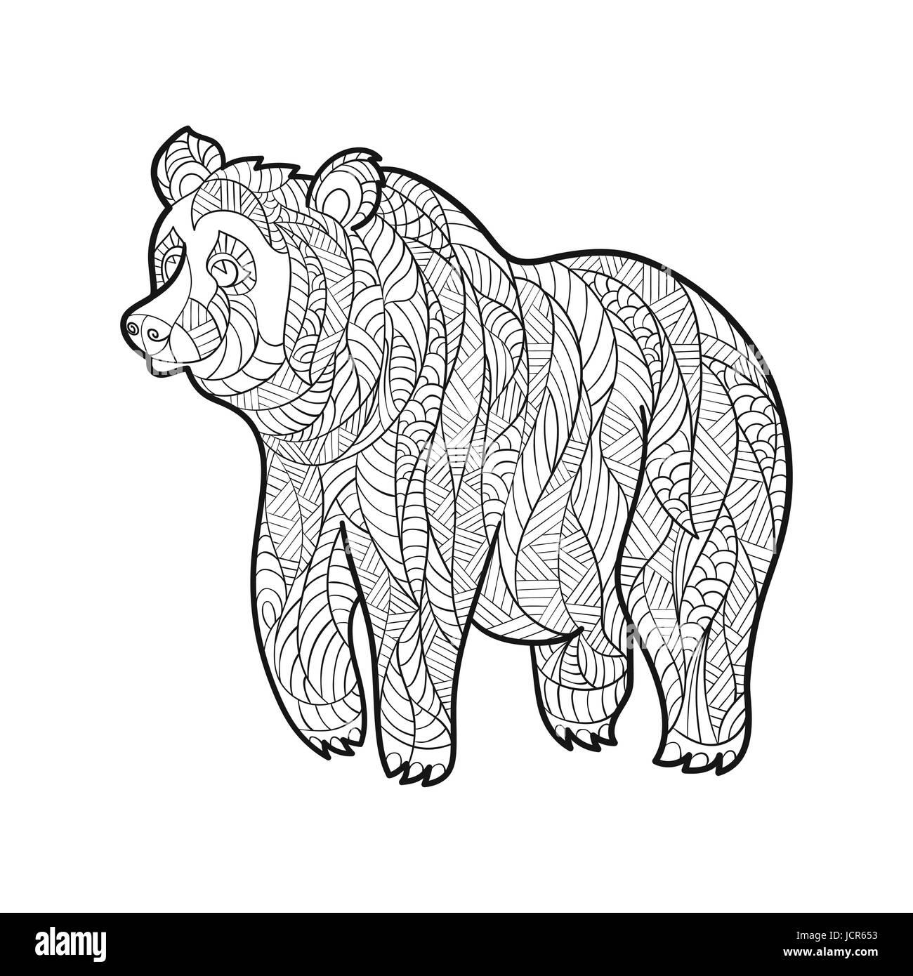 Monochrome handgezeichnete Zentagle Vektorgrafik des Bären ...
