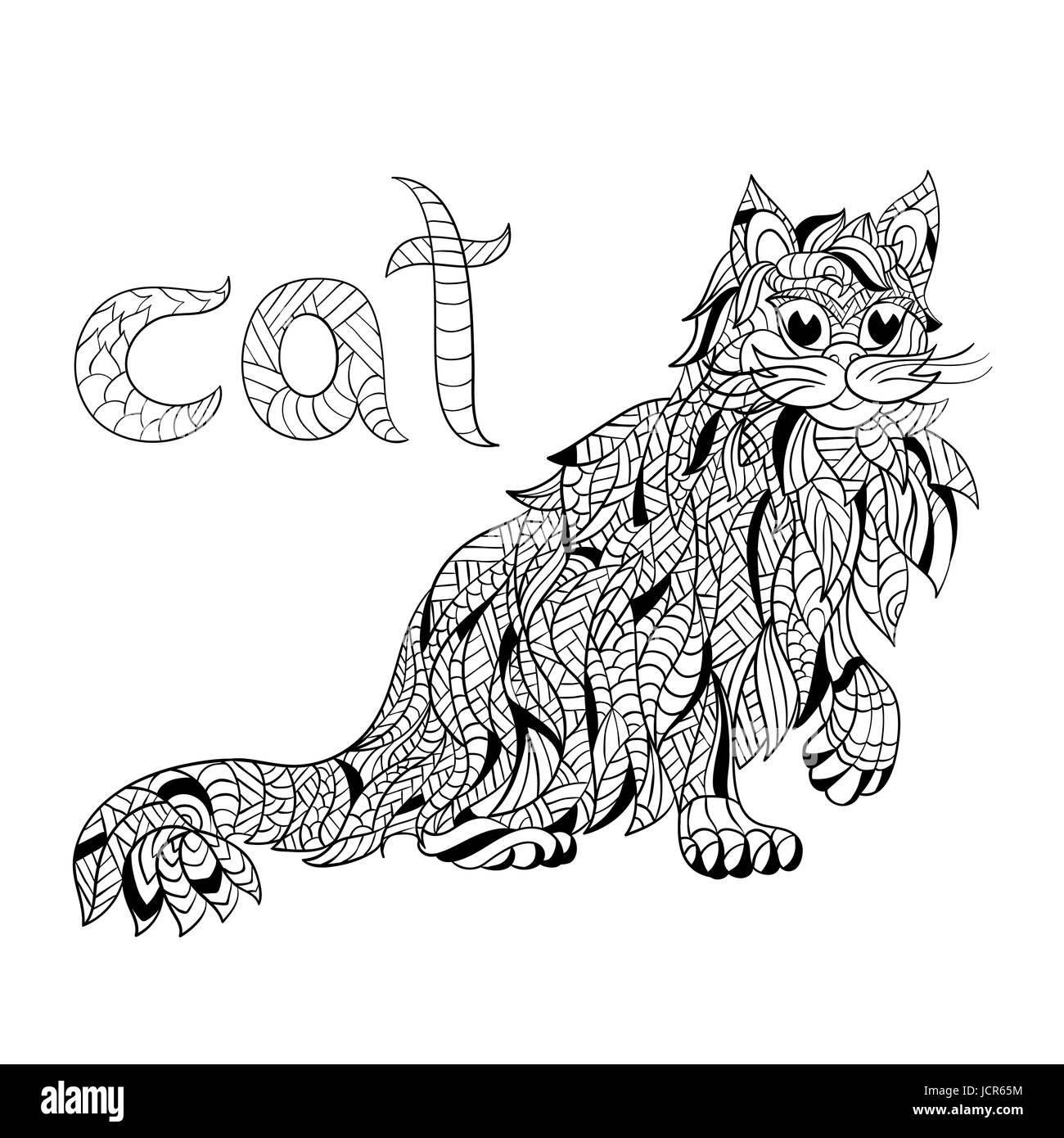 Sitting Cat Hand Drawn Illustration Stockfotos & Sitting Cat Hand ...